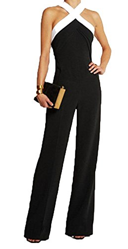 Ovender Tuta Elegante da Donna Ragazza Manica Lunga Pantalone Lungo Jumpsuit Vestito Abito Abbigliamento Tute per Cerimonia Festa Ballo (Large, Modello 3 Nero)