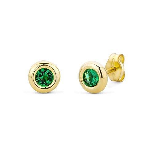 Miore Damen Ohrstecker 9 Karat - Elegante runde Ohrringe aus 375 Gelbgold mit grünem Smaragd (Rundschliff) - Gelbgold-Schmuck Ø 5,5 mm