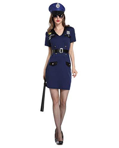 Swat Kleid Kostüm Frauen - LvRaoo Fraun Roleplay Kostüme Cosplay Uniform Korrupte Polizistin Kostüm Kleid, Gürtel, Handschellen und Mütze (Marine, Asien L)