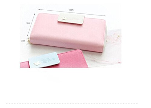 Augur Women's Multi-card Position Two Fold Purse Long Zipper Wallet Handbag handbag Pink