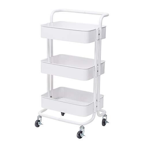 eSituro Servierwagen Küchenwagen Rollwagen Metal für Küche Bad Büro Weiß SDGC0008