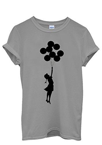 Banksy Balloon Girl Cool Funny Men Women Damen Herren Unisex Top T Shirt Grau