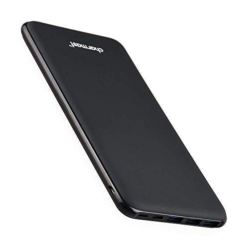 Charmast 26800mAh Powerbank Externer Akku Typ C Micro USB Slim Ladegerät mit 3 Eingängen 4 Ausgängen für MacBook Nintendo Switch iPhone iPad Samsung Huawei und weitere Smartphones(Schwarz) (Power Portable Iphone 5 Bank)
