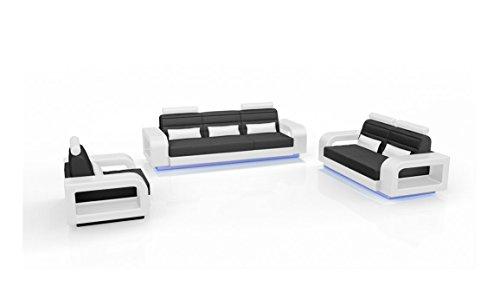 SAM Sofa Garnitur New York Combi 3-2 - 1 schwarz/weiß Wohnlandschaft mit Dreisitzer, Zweisitzer und Sessel LED