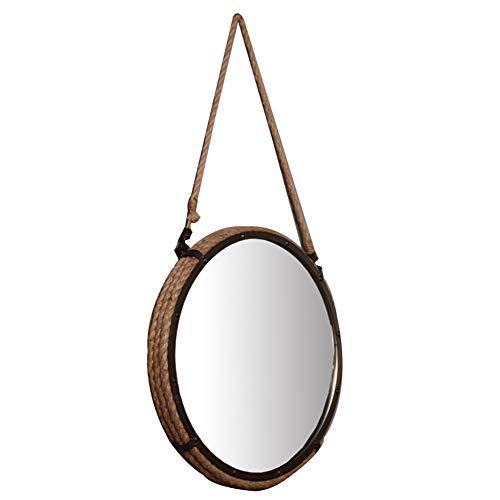 DH JINGZI - Schminkspiegel Spiegel-Wand, die Retro- Schnur alte Badezimmerwohnzimmer-Verfassungsdekoration rostfreies dauerhaftes Eisen hängt (Farbe : Brown, größe : 50x50cm)