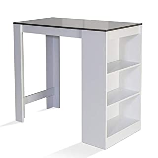 IDMarket - Table de Bar Barth 2 à 4 Personnes Bois Blanc et Gris