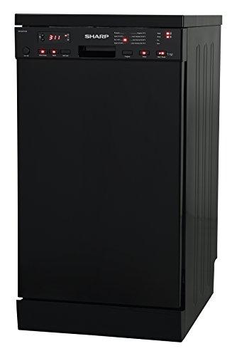 Sharp QW-S22F472B-DE / Geschirrspüler freistehend 45 cm / A++ / 10 Maßgedecke / 8 Programme / Startzeitvorwahl / 9 L Wasserverbrauch / Höhenverstellbarer Oberkorb / AquaStop / schwarz