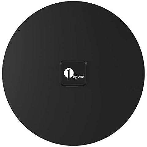 1byone Antena de TV con Recepción en 360 Grados, Omnidireccional, Antena TDT HD Super Delgada 0,5mm, VHF/UHF/FM, 3m de Cables de alto Rendimiento- Negra