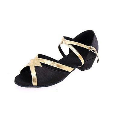 XIAMUO Nicht anpassbare Frauen und Kinder Dance Schuhe Leder Leder Latin Fersen Ferse Anfänger Schwarz Rot Gold Rot