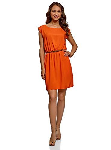 oodji Ultra Damen Viskose-Kleid mit Gürtel, Orange, DE 36 / EU 38 / S