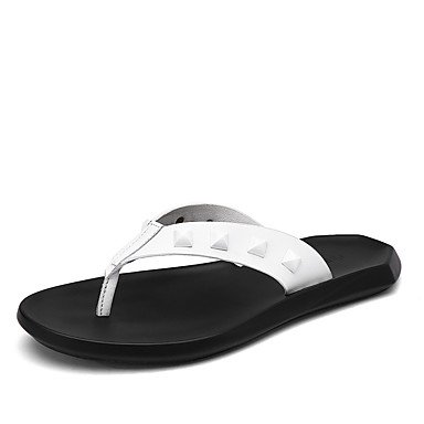 Slippers & amp da uomo; Estate PU comfort informale all'aperto Sandali Nero Bianco sandali US7 / EU39 / UK6 / CN39