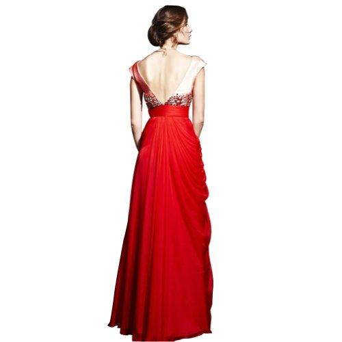 GEORGE BRIDE Rot Mantel / Spalte weg Schulter bodenlangen Chiffon Abendkleid mit Perlen SpitzeAppliques Rot