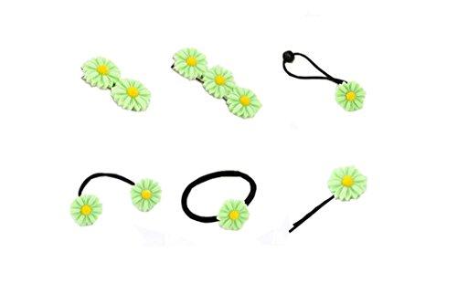 Mini-pferdeschwanz-halter Schwarzes (Lucky staryuan ® 6 Stücke Frauen Hochzeit Gänseblümchen Haar Clips elastisch Haar Band Haar Seil Set (Grün))