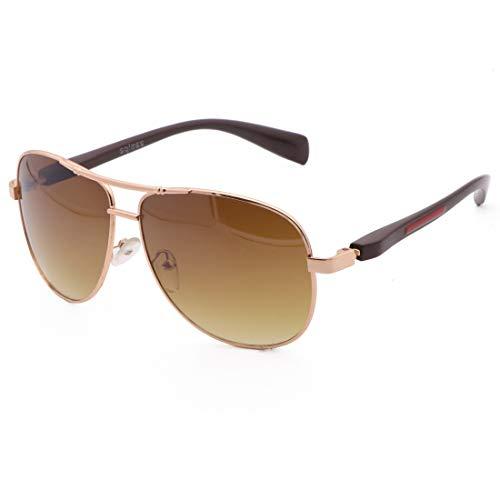 Honneury Übergroße Sonnenbrille für Männer Sonnenbrille gespiegelte randlose Sonnenbrille (Farbe : Gold Frame/Tea Lens)