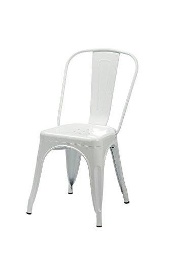 Duhome 1x Esszimmerstuhl Weiß Stuhl aus Metall/Eisen Farbauswahl Küchenstuhl stapelbar, robust & zeitlos 666