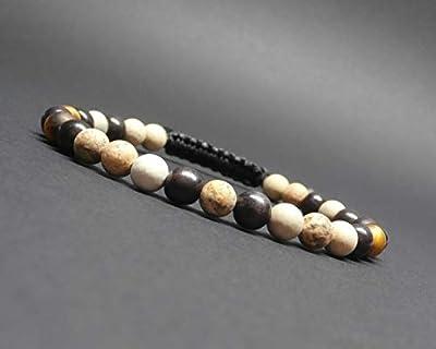 Bracelet homme, pierres gemmes, jaspe paysage mat, œil de tigre mat, perles naturelles, bois ébène Ø6 mm