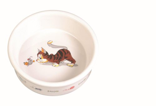 Trixie Ceramic Cat Bowl with Motif, 0.2 Litre, White