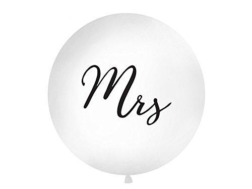 PartyDeco Hochzeit XXL Riesen Luftballon Ø 1m Mrs weiß/schwarz