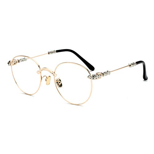 NECCT Gothic Vintage Double Colors Metall Brillengestell Herren Retro Gradient Runde Sonnenbrille,Golden Clear