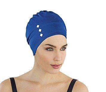 Fashy Damen Stoffbadehaube Badehaube, blau, One Size