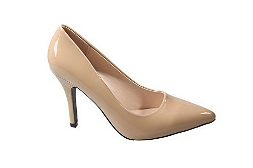 AalarDom Femme Commerce Pointu Stylet Chaussures Légeres Nu