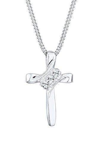 Elli Damen Schmuck Halskette Kette mit Anhänger Kreuz Glaube Religion Elegant Klassisch Basic Silber 925 Swarovski® Kristalle Silber Länge 45 cm