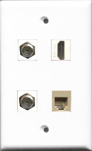 RiteAV 1Port HDMI 2Port Koax-Kabel TV-F- und 1Port Telefon RJ11RJ12Beige Wall Plate Telefon Wall Plate