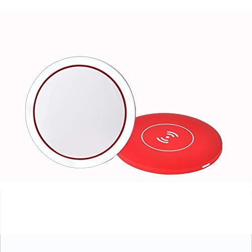 CJZBG Wireless Schminkspiegel Taschenspiegel Mini Charging Kosmetikspiegel Beleuchtet 3 Modi Einstellbar Frauen -