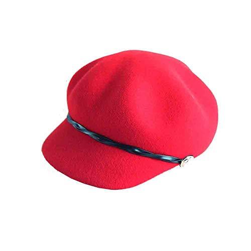 Sunny Achteckige Mütze Beret Newsboy Cap Wintermütze Womens 'Cap (Farbe : Red) (Red Newsboy Cap)