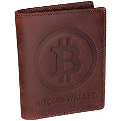 Bitcoin Wallet aus echtem Leder, das das Bitcoin-Logo in 3D enthält - Schlankes Design mit RFID-Schutz - Wallet, Geldbörse für kryptographische Fanatiker