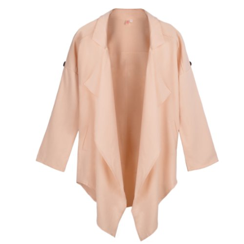 Damen Umlegekragen unregelmäßig Saum Stulpe falten Mantel