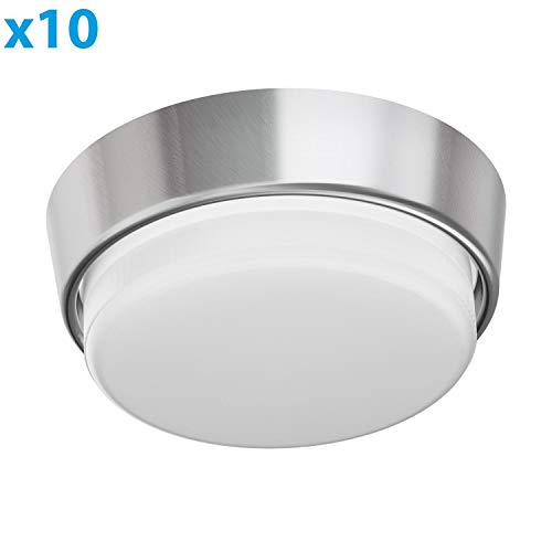 ledscom.de GX53 Wand-Fassung INEL Chrom matt rund 90mm Ø inkl. LED Lampe 6.3W=40W 450lm weiß, 10 STK.