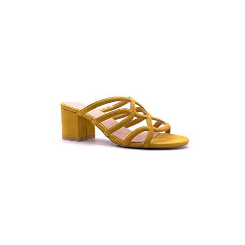 Angkorly - Damen Schuhe Sandalen Mule - Offen - Bequeme - Ehe Zeremonie - Multi-Zaum Blockabsatz high Heel 6 cm - Gelb 88-282 T 38 Mule Sandale