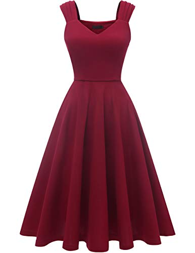 DRESSTELLS Damen 1950er Midi Rockabilly Kleid Vintage V-Ausschnitt Hochzeit Cocktailkleid Faltenrock Burgundy Size-L