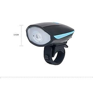 Theoutlettablet® Luz delantera - Foco frontal para Bici Linterna LÁMPARA TORCH frontal 1x CREE XM-L U2 LED de bicicleta / bici lámpara Luz LED frontal para manillar de bicicletas con batería y claxon COLOR NEGRO con línea Azul