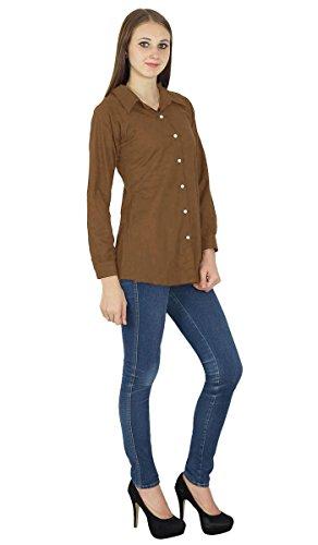 Chemise À Manches Longues En Coton Kurta Haut Vêtements Pour Marron