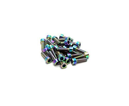 Racepro©-2x Gr5Titan Paralleler Socket Head Schraube-M6x 20mm x 1mm Gewinde-Allen Head-Rainbow Poliert