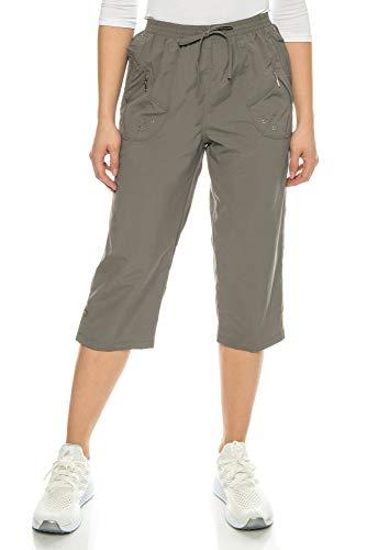Kendindza Damen Sommer Stoff-Shorts | 3/4 Capri-Hose mit Kordel | Basic Uni-Farben (Anthrazit, XXL)
