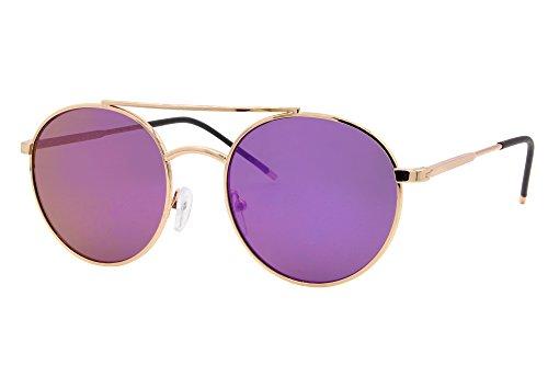 Cheapass Sonnenbrille Rund Gold Violett Lila Verspiegelt UV-400 Designer-Brille Festival-Accessoire Metall Frauen Damen Mädchen