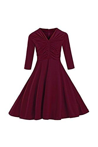 Babyonline d.r.e.s.s Damen 50er 60er 1/2 Arm Cocktailkleider Swing Retro Rockabilly Kleid VintagepPartykleid Abendkleid Gr.S~4XL Weinrot