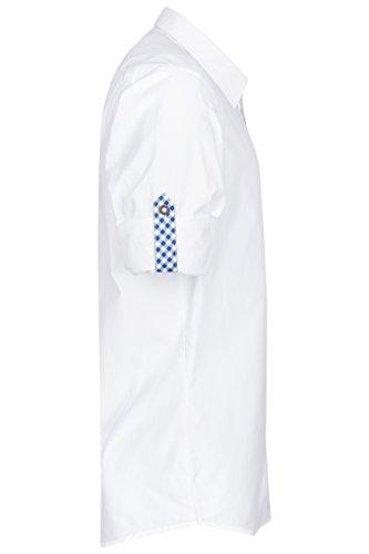 Schlusen Trachtenmode Trachtenhemd Hubert Weiß mit 10 Versch. Kontrastfarben (Gr. XS-XL) mit Krempelärmel Slim Fit Blau