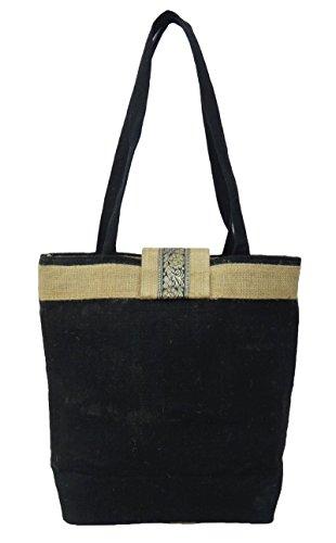 """Baumwolle Jute Blumendamen Handtaschen beiläufige Strandtasche Favor Damen Handtasche 13,5"""" x 12,5"""" Zoll Schwarz"""