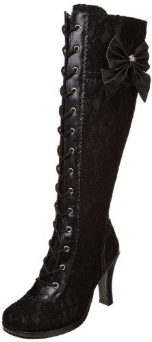 Demonia Goth Lolita Stiefel Glam-240 Mattschwarz