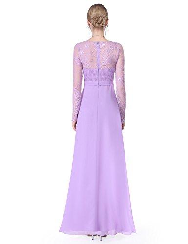 Ever Pretty Damen Elegant Langarm Abendkleid Maxikleider 08692 Lavendel