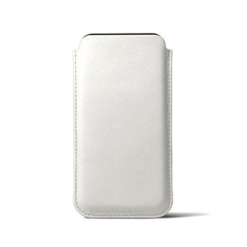 Lucrin - Klassische Schutzhülle für iPhone X - Schwarz - Glattleder Weiss