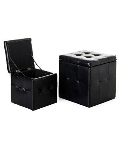 Puff/Arcón de almacenaje realizado en Polipiel de Color Negro. Acabad