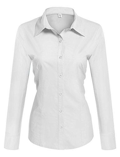Beautyuu camicia donna manica lunga camicie basic camicetta casual shirt camici top camicetta camicia donna camicetta in cotone formale elegante bianco m