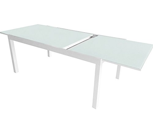 Table en aluminium coloris blanc extensible - Dim :180/240 x 90 cm -PEGANE-