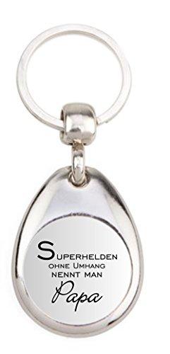 Schlüsselanhänger GX-001 - Superheld Papa - mit Einkaufswagenchip in Magnethalterung - Geschenk zum Vatertag