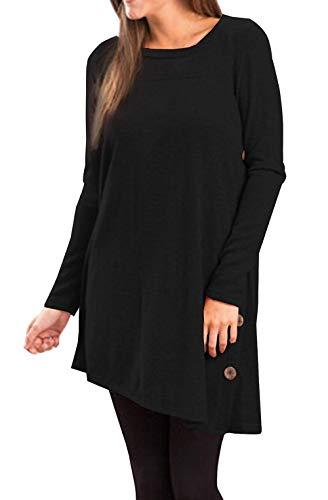 Yidarton Pull Robe Femme Hiver Col V Casual Manche Longue Mini Robes Tunique (Z-noir, XXL)